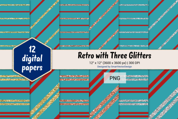 Print on Demand: Pinstripes W 3 Glitters #17 Graphic Backgrounds By SmartVectorDesign