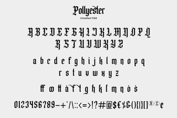 Print on Demand: Pollyester Blackletter Font By Maulana Creative - Image 7