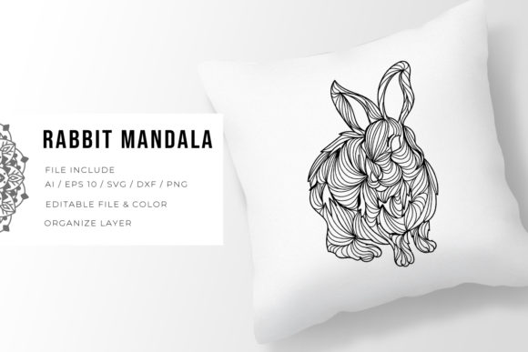 Print on Demand: Rabbit | Mandala Grafik Plotterdateien von Vunira