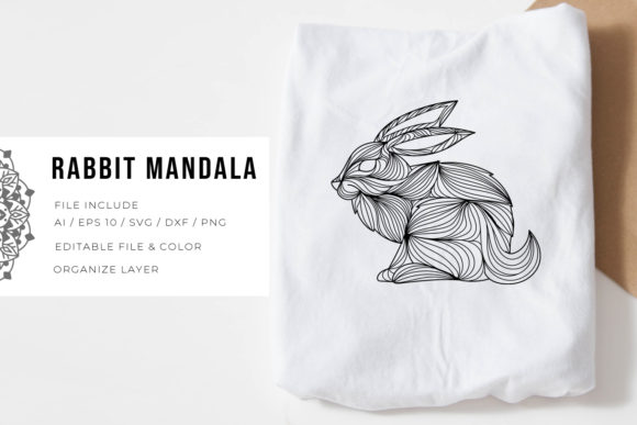 Print on Demand: Rabbit | Mandala Graphic Crafts By Vunira