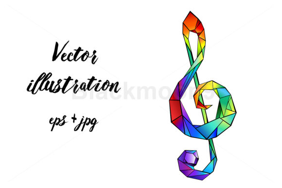 Rainbow Musical Key Graphic Illustrations By Blackmoon9