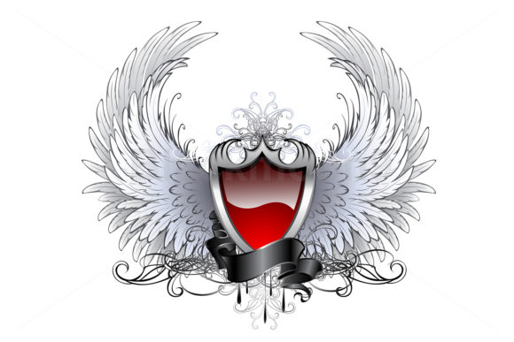Red Angel Shield with Wings Graphic Illustrations By Blackmoon9