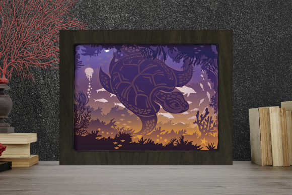 Print on Demand: Sea Turtle Light Box Shadow Box Graphic 3D Shadow Box By LightBoxGoodMan