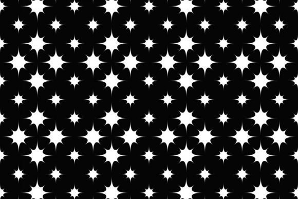 Seamless Black and White Star Background Graphic Patterns By davidzydd