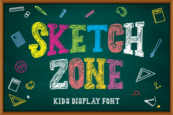 Print on Demand: Sketch Zone Display Font By Mozarella