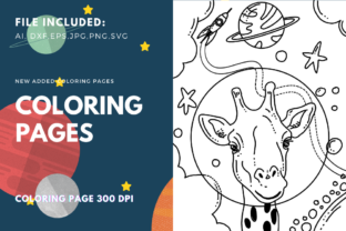 Print on Demand: Space Giraffe Coloring Book Graphic Coloring Pages & Books Kids By stanosh