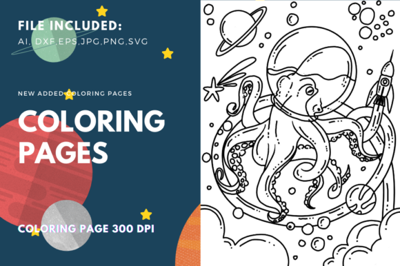 Print on Demand: Space Octopus Coloring Page Graphic Coloring Pages & Books Kids By stanosh