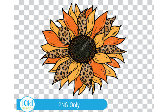 Print on Demand: Sunflower with Leopard Pattern Graphic Illustrations By Tori Designs