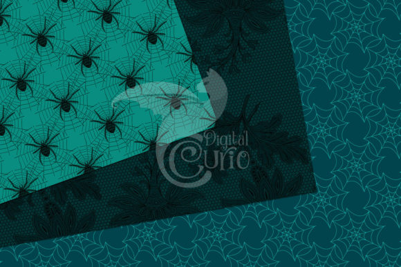 Print on Demand: Teal Gothic Digital Paper Graphic Backgrounds By Digital Curio - Image 2