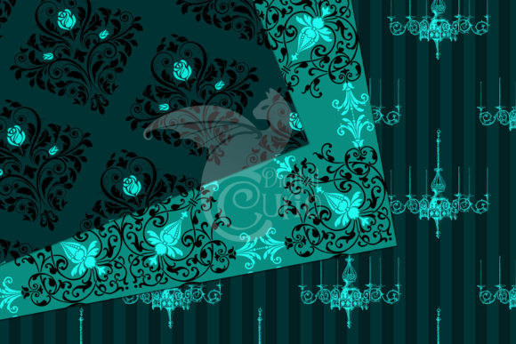 Print on Demand: Teal Gothic Digital Paper Graphic Backgrounds By Digital Curio - Image 3