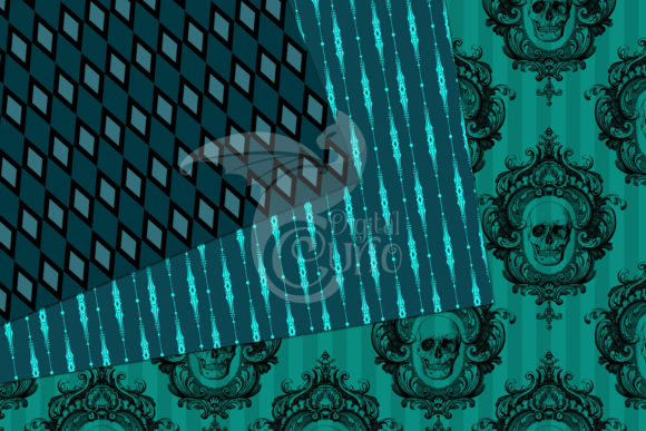 Print on Demand: Teal Gothic Digital Paper Graphic Backgrounds By Digital Curio - Image 4