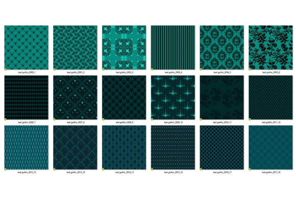 Print on Demand: Teal Gothic Digital Paper Graphic Backgrounds By Digital Curio - Image 5