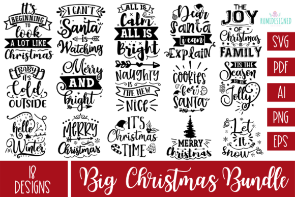 The Big Christmas Bundle Graphic Crafts By Rumi Designed