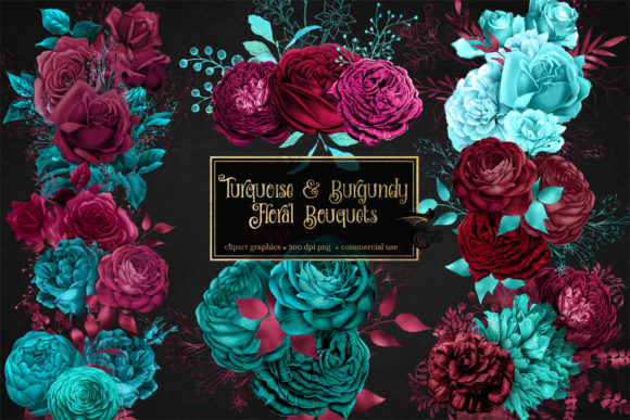 Print on Demand: Turquoise and Burgundy Floral Bouquets Graphic Illustrations By Digital Curio