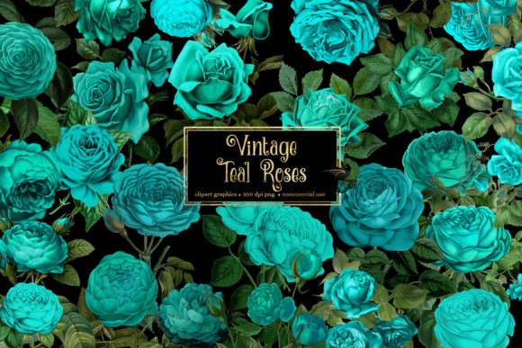 Print on Demand: Vintage Teal Roses Clipart Graphic Illustrations By Digital Curio