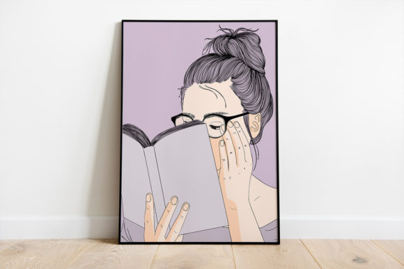 Print on Demand: Wall Art a Girl Reading a Book in Autumn Graphic Illustrations By Saydung89