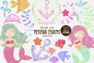 Watercolor Mermaid Cliparts Graphic Illustrations By Mutchi Design