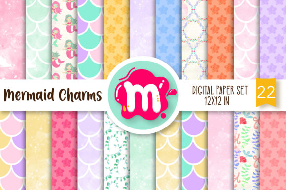 Print on Demand: Watercolor Mermaid Digital Paper Set Graphic Backgrounds By Mutchi Design