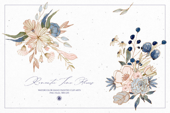 Print on Demand: Watercolor Romantic Time Flowers Graphic Illustrations By webvilla