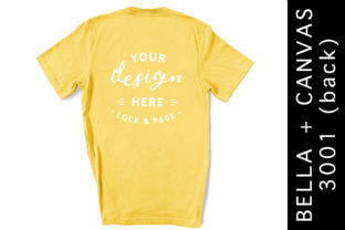 Yellow Bella Canvas 3001 Back T-Shirt Graphic Product Mockups By lockandpage