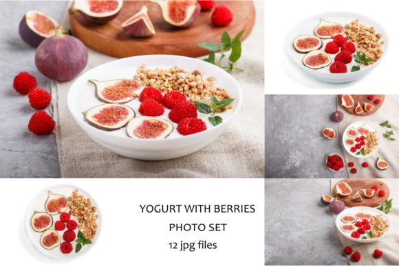 Yoghurt with Raspberry, Granola and Figs Graphic Food & Drinks By Uladzimir Zgurski Photos