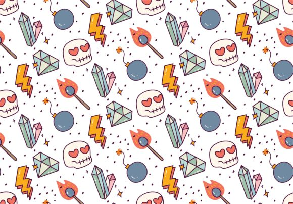 Cute Object Doodle Seamless Pattern Graphic Illustrations By Big Barn Doodles