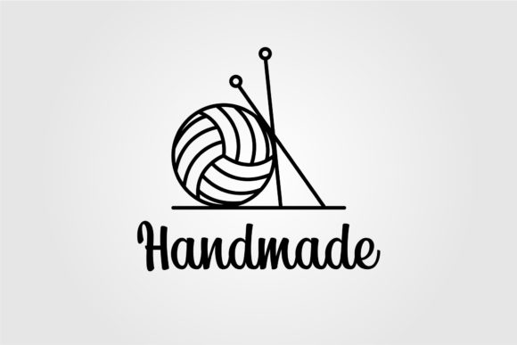 Line Art Ball of Yarn with Knitting Tool Graphic Logos By lawoel