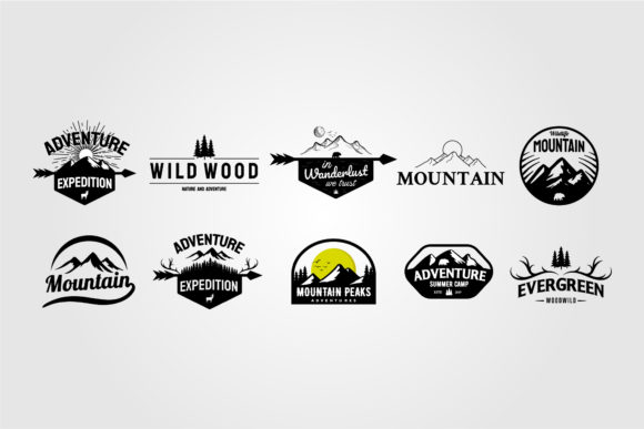 Set of Vintage Outdoor Logo Adventure Graphic Logos By lawoel