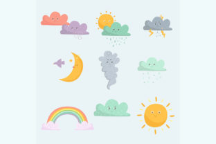 Weather Emoticon Icon Set Graphic Illustrations By april_arts