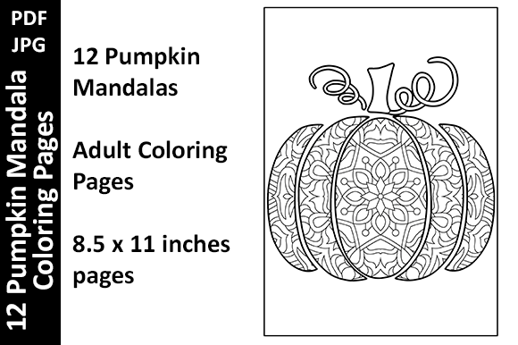 12 Pumpkin Mandalas Unique Coloring Page Graphic Coloring Pages & Books Adults By Oxyp - Image 1
