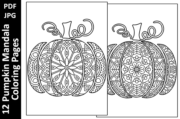 12 Pumpkin Mandalas Unique Coloring Page Graphic Coloring Pages & Books Adults By Oxyp - Image 2