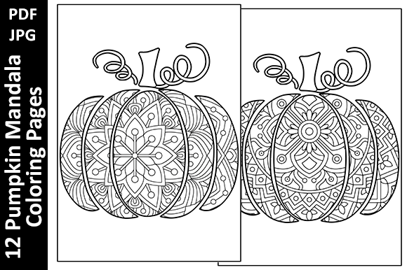 12 Pumpkin Mandalas Unique Coloring Page Graphic Coloring Pages & Books Adults By Oxyp - Image 3