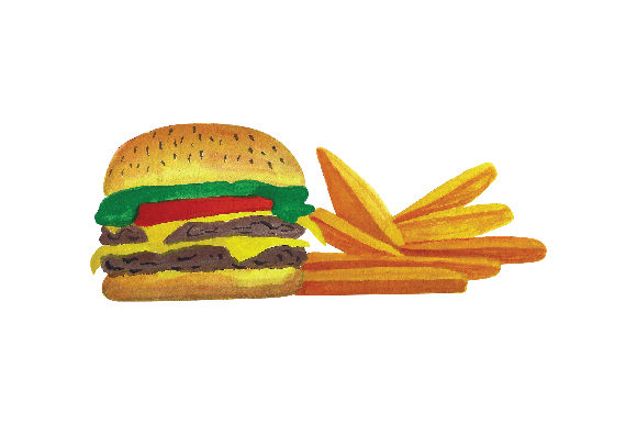 Cheese Burger and Fries Food & Drinks Craft Cut File By Creative Fabrica Crafts