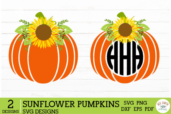 2 Halloween Sunflower Pumpkins Graphic Crafts By redearth and gumtrees