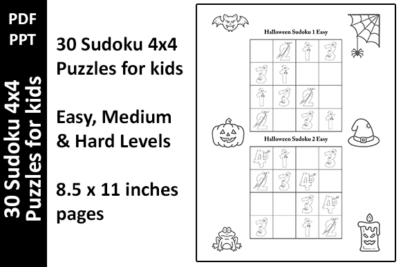 30 Halloween Sudoku 4x4 for Kids Unique Graphic KDP Interiors By Oxyp