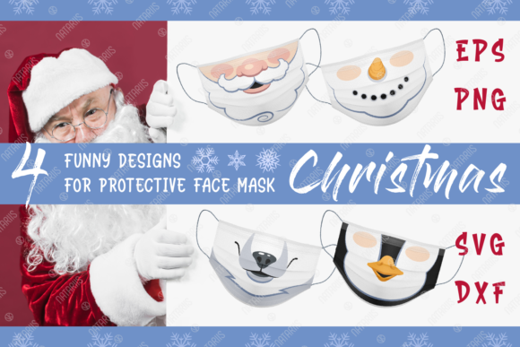 4 Christmas Designs for Face Mask Graphic Crafts By Natariis Studio