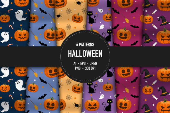 6 Halloween Patterns for Digital Paper G Graphic Patterns By bongkarngraphic