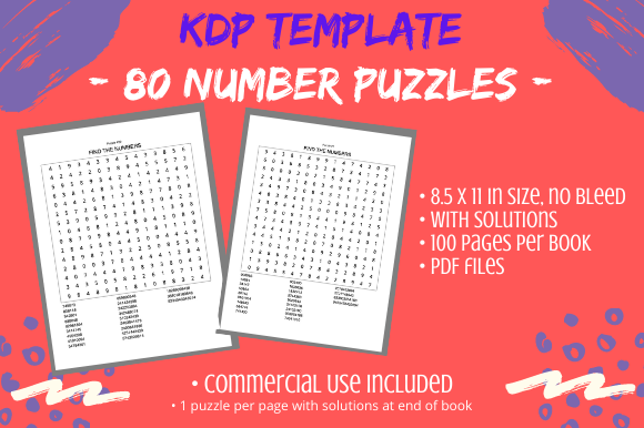 Print on Demand: 80 Number Search Puzzles Book Interior Graphic KDP Interiors By Tomboy Designs