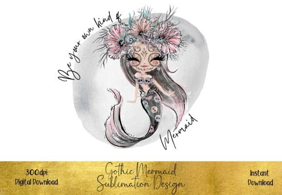 Beautiful Gothic Mermaid Graphic Illustrations By STBB