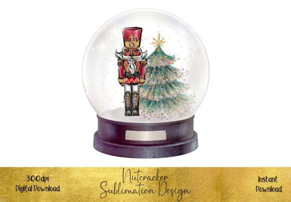 Beautiful Nutcracker in a Snow Globe Graphic