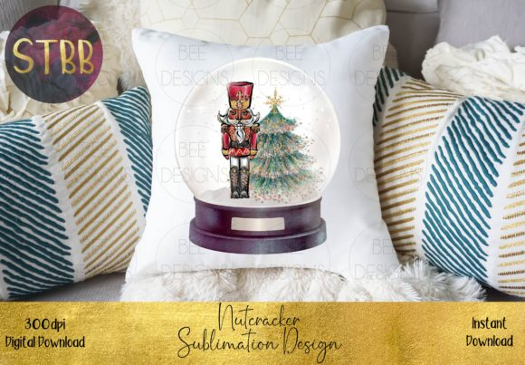 Beautiful Nutcracker in a Snow Globe Graphic Download