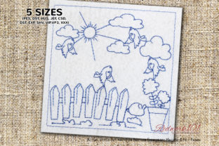 Bird Playing in the Garden Redwork Cities & Villages Embroidery Design By Redwork101