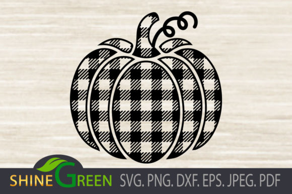 Print on Demand: Buffalo Plaid Pumpkin Graphic Crafts By ShineGreenArt