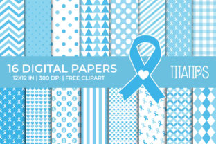 Cancer Awareness Digital Papers Set Graphic Backgrounds By TitaTips
