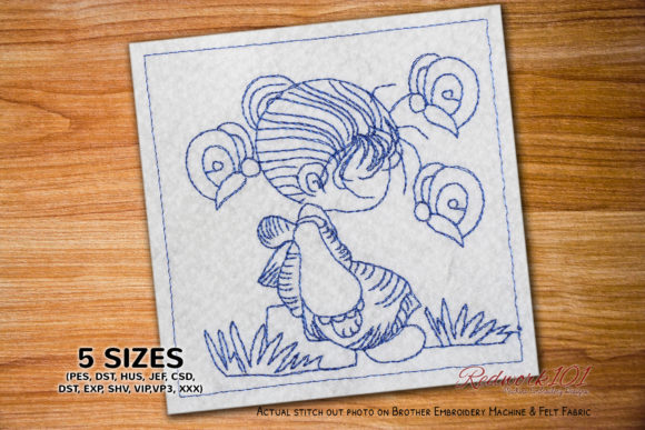 Cartoon Girl with Beautiful Butterflies Boys & Girls Embroidery Design By Redwork101