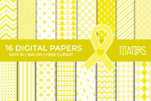 Childhood Cancer Awareness Digital Paper Graphic Backgrounds By TitaTips
