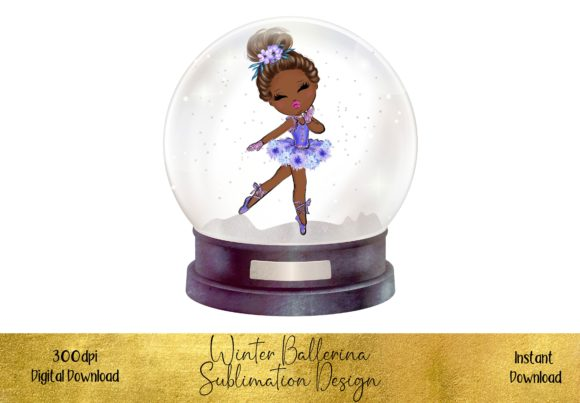 Christmas Ballerina in a Beautiful Globe Graphic Illustrations By STBB