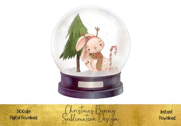 Christmas Bunny in a  Snow Globe Graphic Illustrations By STBB