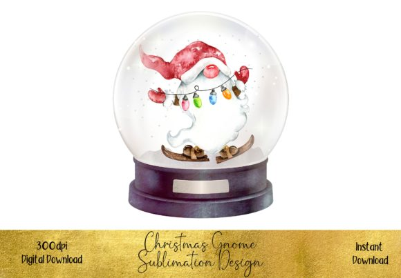 Christmas Gnome Nestled in a Snow Globe Graphic Illustrations By STBB