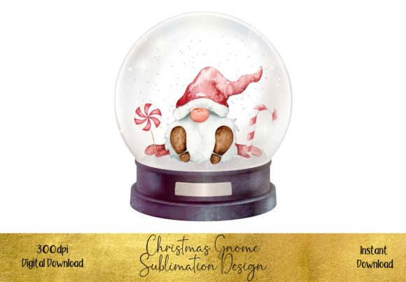 Christmas Gnome in a Snow Globe Graphic